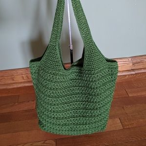The Sak Large Hobo / Tote Bag Earth Green Crochet